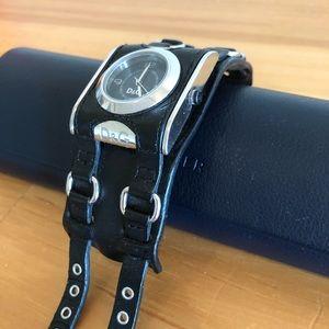 Dolce & Gabbana Black Leather Cuff Watch
